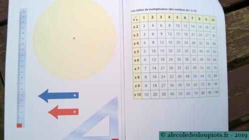Litchi-manipulation-08Horloge, équerre et règle graduée, tables de multiplication.